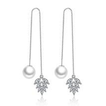 925 sterling silver fashion shiny crystal flower imitation pearl ladies`tassels  - $8.52
