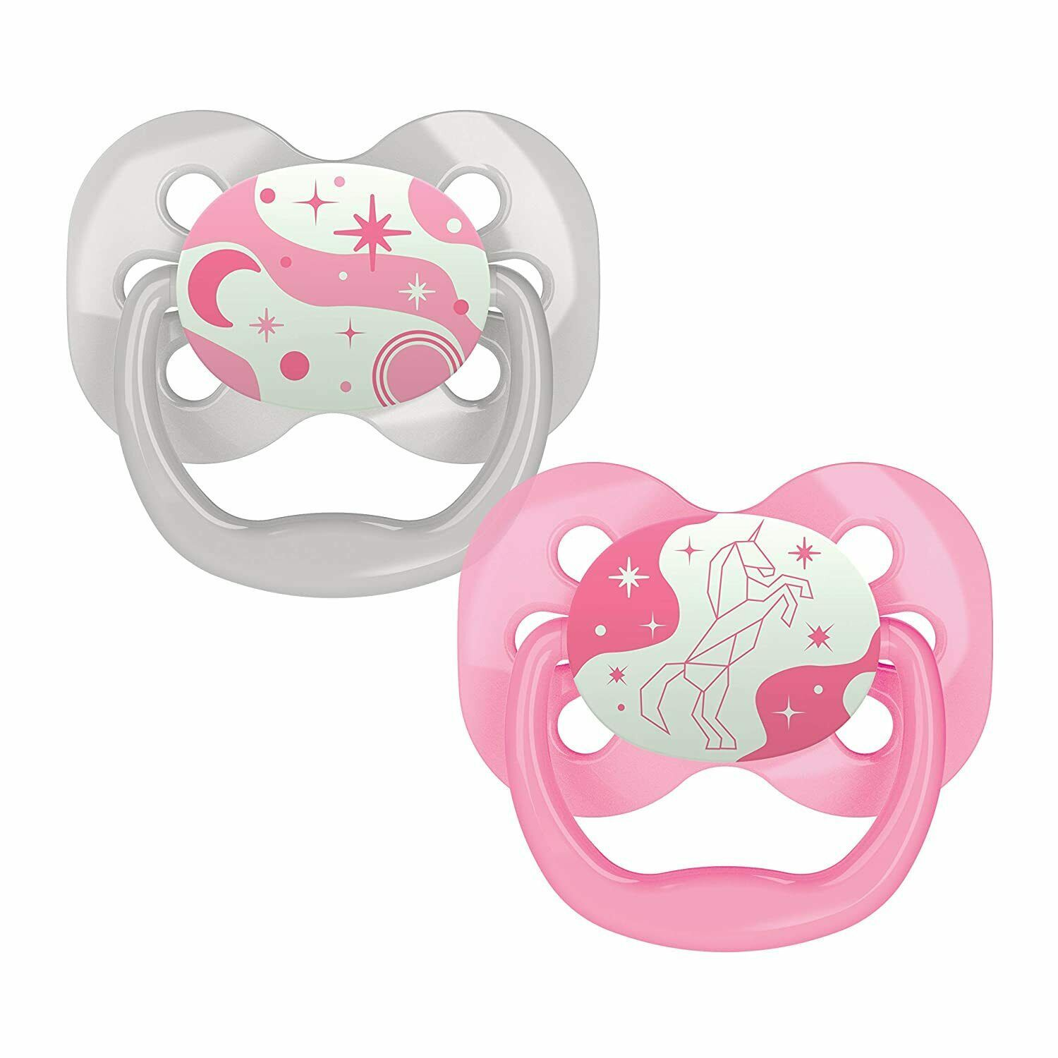 Dr. Brown's Advantage Glow-in-The-Dark 2 Piece Stage 1 Pacifiers Pink 0-6 Months - $8.02