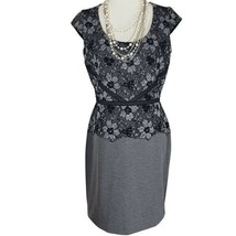 Ann Taylor Petite Womens Black Floral Lace Cap Sleeve Midi Shift Dress S... - $44.88