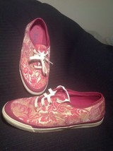 **KEDS** LACE UP SNEAKERS WOMEN'S SIZE 7M SHINY WINE & GOLD FLOWER PATTE... - $32.66