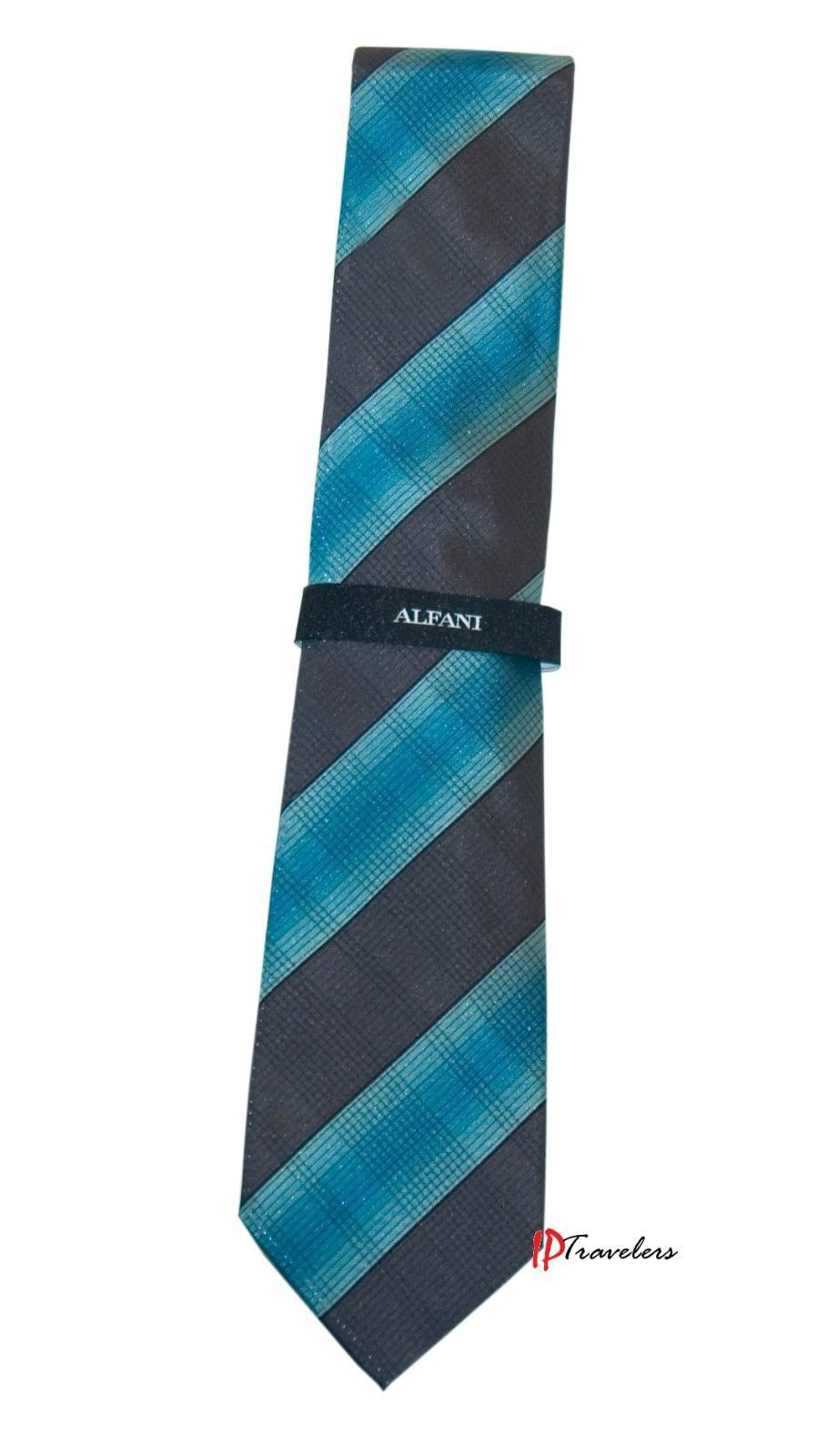 Alfani Men's Neck Tie Aqua Blue with Black Stripes Silk Classic Length $49.50