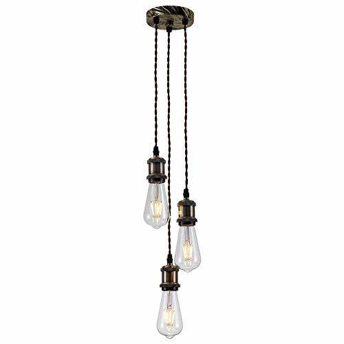 PIANUO 3 Way Ceiling Pendant Cluster Light Fitting Lights E26 Socket Hanging Lig