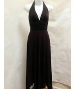 BCBG Max Azria XS Maxi Dress Brown Halter Kerchief Hem Draped Prom Made ... - $35.26