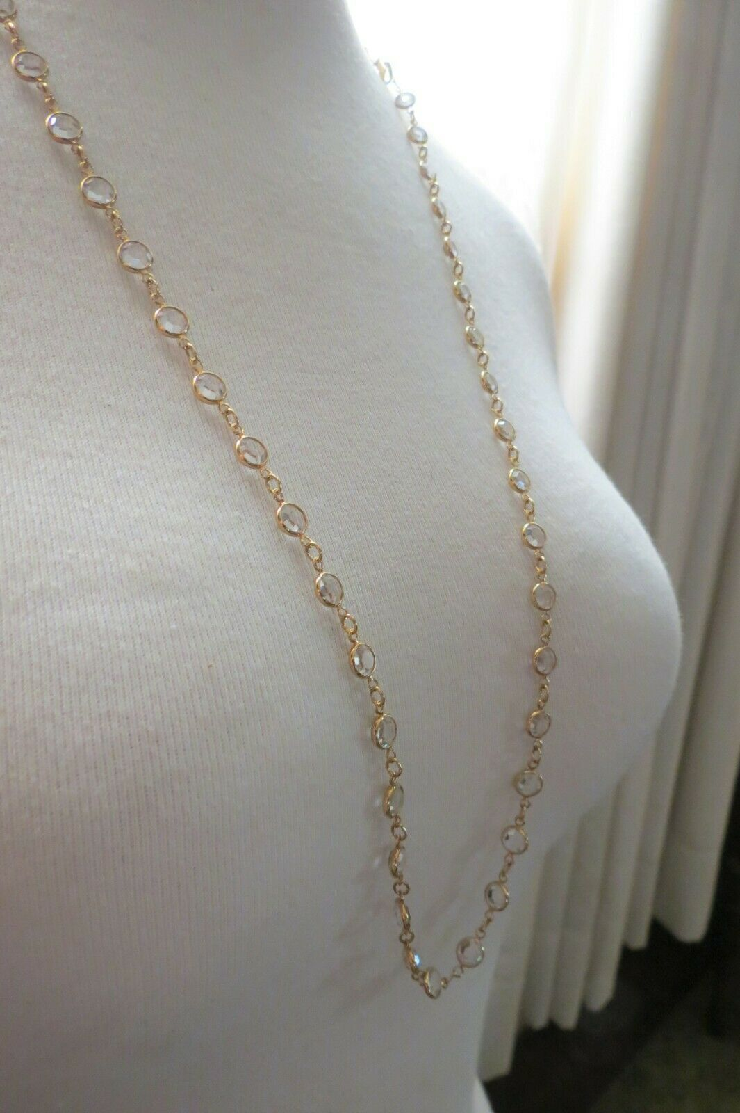 "Primary image for Bezel Set Clear Crystal Necklace Gold Plated 32"" Long 7mm Links Swarvski Swan"