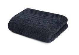 Kashwere Throw Blanket Mini Cable Heather Navy Blue and Black - $165.00