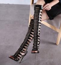 ps404 elegant caged pointy sandals, zip back, US Size 5-9, black - $58.80