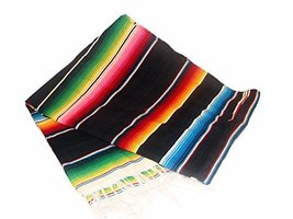 #203 Black Bright Throw Mexican Blanket Sarape Siesta Yoga Authentic Mex... - $29.11 CAD
