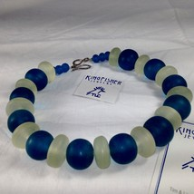 Unique Hand Made Beaded Necklace Blue White Virginia Kingfisher Jewelry ... - $99.00