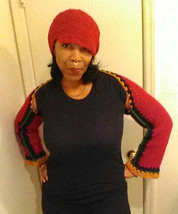 My crocheted shrug with matching hat - $35.00