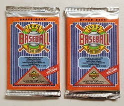 1992 Upper Deck Baseball Lot of 2 (Two) Sealed Unopened Packs - $9.78