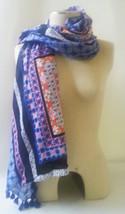STELLA & DOT Capri Wrap Scarf RETIRED NAVY BLUE MOROCCAN Cotton/Acrylic ... - $14.20