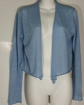 Eileen Fisher Cardigan Sweater S Small Simple Cropped Blue Open Front NWT - $94.04