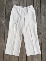 Liz Claiborne Womens 12 Pants Linen Blend Cathren Beachy Artsy Comfort T6 - $15.83