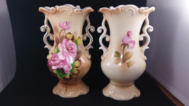 "PAIR OF 8"" Gold Accent Scalloped Lipper & Mann Creations Japan Rose Vase - $47.52"