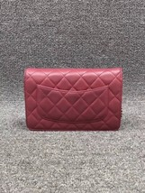 100% AUTH CHANEL WOC Quilted Lambskin Red Wallet on Chain Flap Bag SHW image 2
