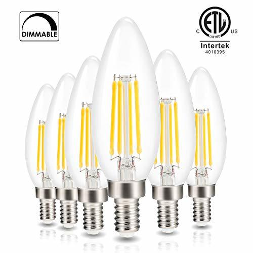 Led Candelabra Light Bulb Filament Vintage Edison Chandelier Dimmable Bulbs,40 W