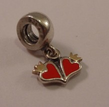 Discontinued PANDORA Sterling Silver Love Red Enamel Dangle Crown Hearts... - $39.59