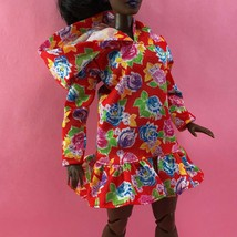 Barbie Hoodie Dress Bmr 1959 Cute Red Floral Outfit For Curvy Body Type - $8.00
