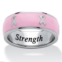 BREAST CANCER AWARENESS PINK RIBBON STAINLESS STEEL RING SIZE  5 6 7 8 9 10 - $90.24