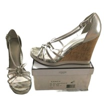 Coach Womens Shoes 8.5 8 1/2 new nib $168 Silver Joslin Leather Strappy Sandals - $123.75