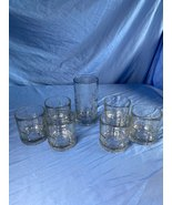 Vintage Anchor Hocking Heavy Clear Cut Glass 1 Juice Tumbler And 6 Rock ... - $39.99