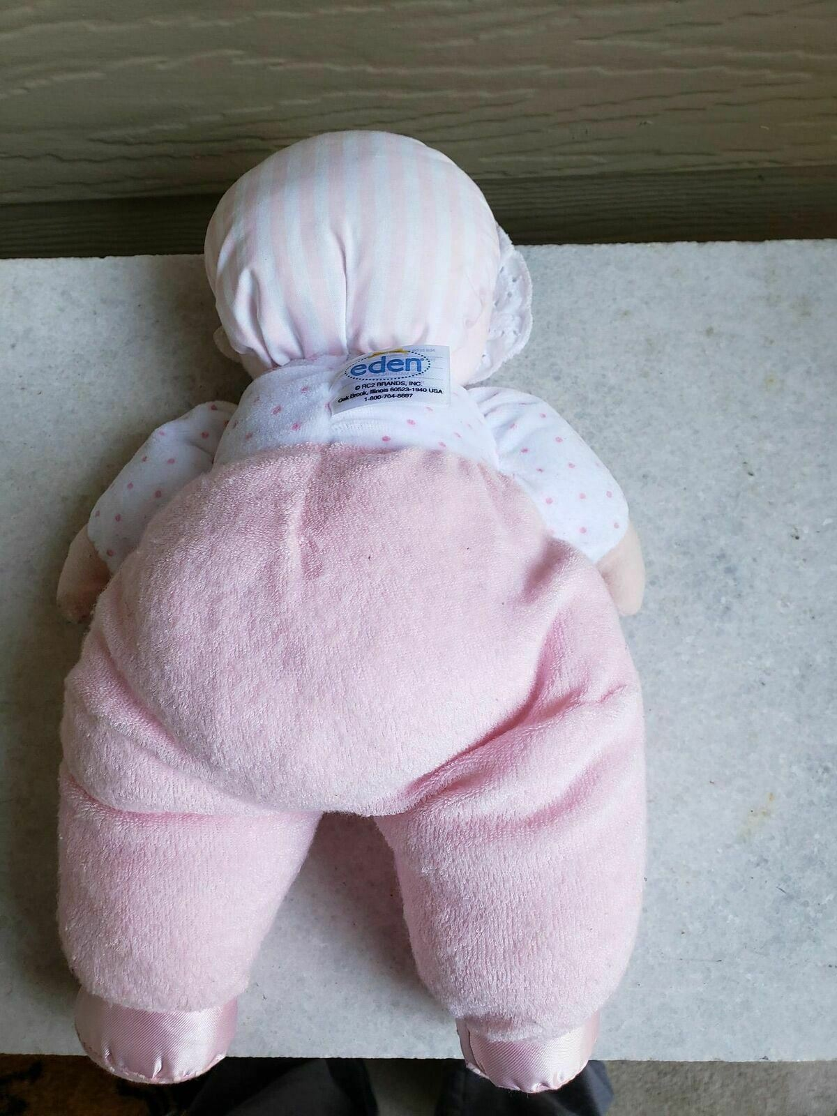 Eden Toys Terry Cloth Pink Doll Rattle STUFFED ANIMAL PLUSH TOY