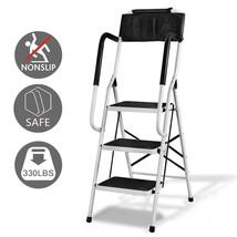2 In 1 Non-slip 4 Step Ladder Folding Stool w/ Handrails 330Lb Load Capa... - $74.24