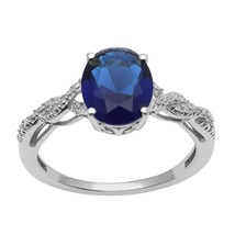 Amazing !! Blue Cz Gemstone 925 Sterling Silver Ring Jewelry Size-8.5 SH... - $21.63