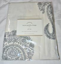 """Pottery Barn Rayna Paisley Drape Gray 50 x 84"""" Cotton Linen Curtain Panel New - $76.63"""