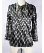 GAP Stretch Black Polka-Dot Pull Over Long Sleeve Shirt Tank Top Blouse ... - $13.99