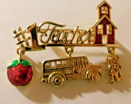 #1 Teacher Enamel Gold tone School Metal Brooch Pin,(Danecraft Signed) - $9.89