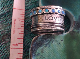Love Life Joy Freedom Wide Sterling Silver Statement Ring Size Choice 7 or 8 image 9