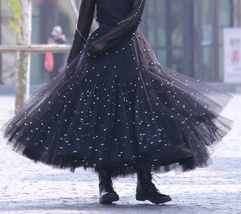 Full Long Tulle Skirt Outfit High Waisted Birthday Full Tulle Skirt,Pink,Black image 8