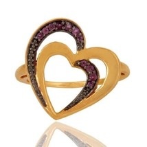 Natural Amethyst Gemstone 925 Sterling Silver Love Ring 18K Gold Plated ... - $22.00