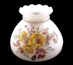 Student Lamp Shade Milk Glass White Floral 8 in Orange Roses Yellow Vintage - $19.95