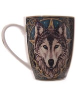 Wolf Coffee  Mug Ceramic Porcelain Cup with Printed Wolf Head Lisa Parke... - $17.65