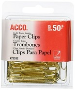 ACCO Paper Clips, Jumbo, Smooth, Gold, 50 Clips/Box 72532 - $2.59