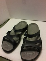 Crocs Rubber Comfort Sandals Flip Flops 7 Black Grey Slip On Across Arch Strap - $14.50