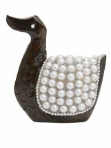 Handmade Duck Figurine Pearl studded Wooden (10 x 5 x 10 cm, Brown) - $17.87