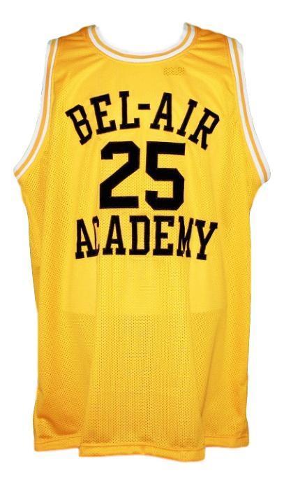 Carlton banks  25 fresh prince of bel air academy basketball jersey yellow   1
