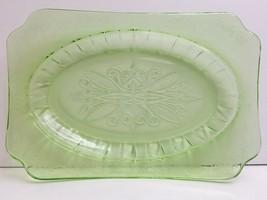"""Jeannette Adam Green Depression 11 3/4"""" MCM Etched Glass Old VTG Serving... - $29.67"""