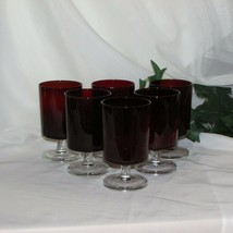 """6 RETRO RUBY RED WINE GLASSES GOBLETS 4 5/8"""" LUMINARC FRANCE CLEAR STEMS... - $19.08"""