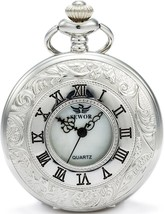 SEWOR Hollow Vintage Quartz Pocket Watch Shell Dial With Two Type (Sliver) - $39.80