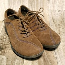 Clarks Wave Womens  86509 Sz 9 Brown  Leather Lace up Walking Sneakers Shoes - $29.99