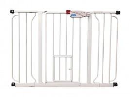 Indoor Pet Gate Extra Wide Adjustable Barrier With Walk Thru Door Dog Ca... - $55.21