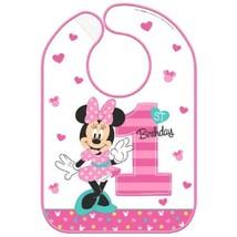 Minnie Mouse Fun To Be One 1 Vinyl Bib 1st Birthday Party - $5.50