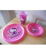 HELLO KITTY PINK HARD PLASTIC 3 PC SET PLATE BOWL cup  NEW CUTE - $7.42