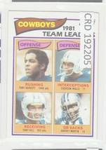 1982 Topps Football 1981 Dallas Cowboys Team Leaders #307 Tony Dorsett 1... - $1.97