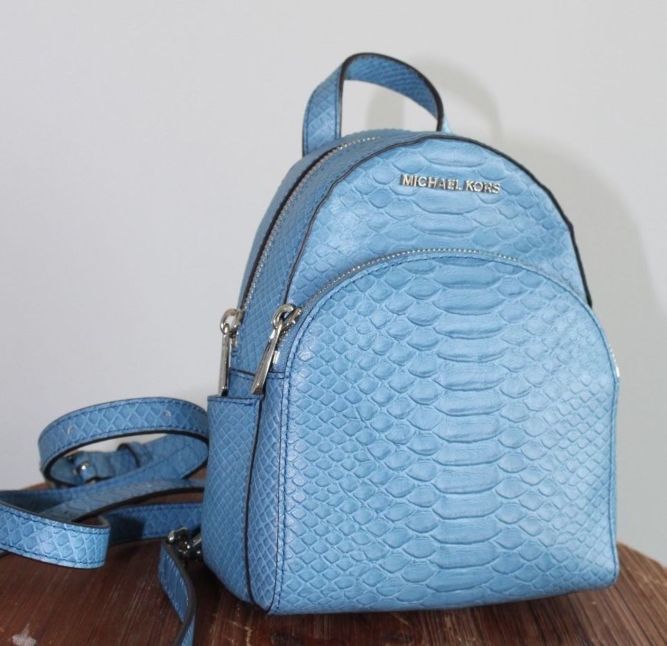 93661f5777 ... NWT MICHAEL KORS EMBOSSED LEATHER ABBEY XS BACKPACK BAG ~ SKY BLUE ...