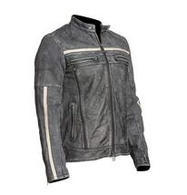 Mens Retro Motorcycle Cafe Racer Rider Distressed Black Biker Leather Jacket image 3